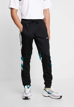 NERITAN TRACK PANTS - Träningsbyxor - black/white/everglade