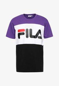 Fila - DAY TEE - Print T-shirt - black/tillandisa purple/bright white - 3