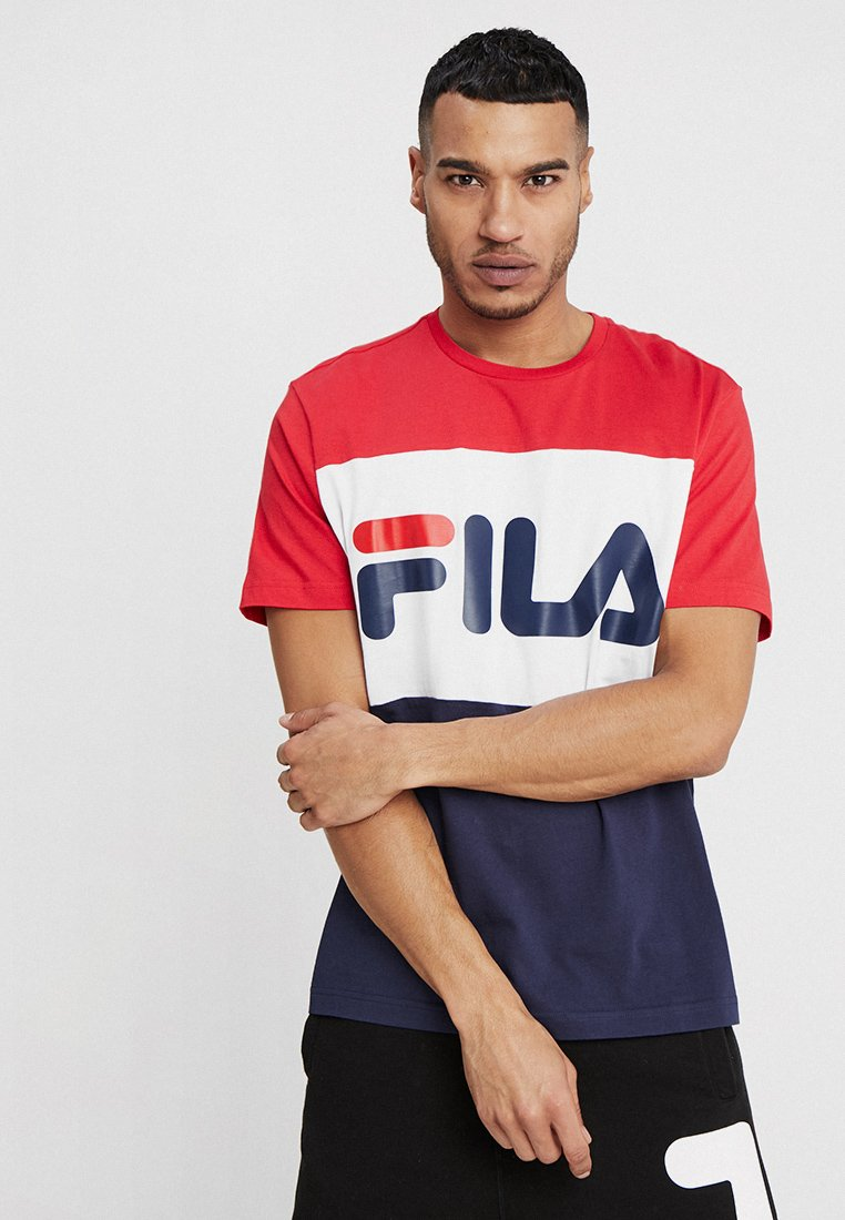 Fila - DAY TEE - T-shirt con stampa - black iris/true red/bright white