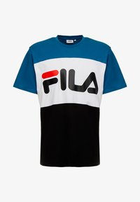 Fila - DAY TEE - T-shirt med print - black/maroccan blue/bright white - 4