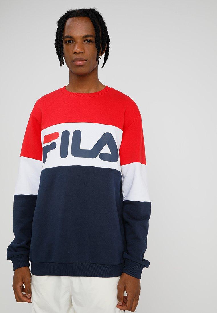 Fila - STRAIGHT BLOCKED CREW - Sweatshirt - black iris/bright white/true red