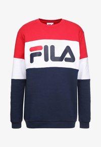Fila - STRAIGHT BLOCKED CREW - Sweatshirt - black iris/true red/bright white - 3
