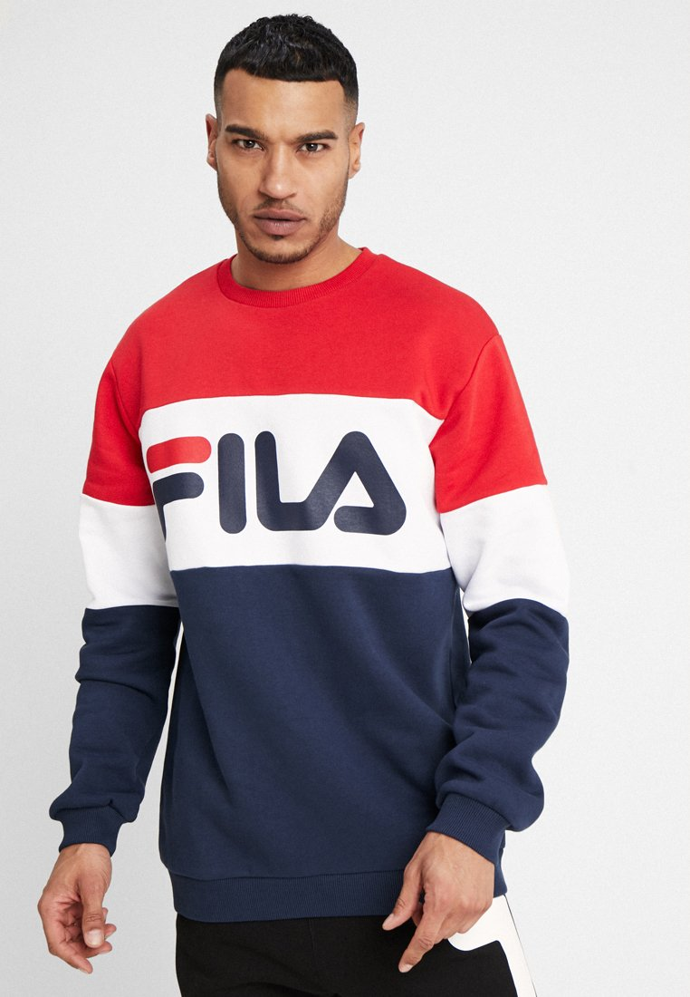 Fila - STRAIGHT BLOCKED CREW - Sweatshirt - black iris/true red/bright white