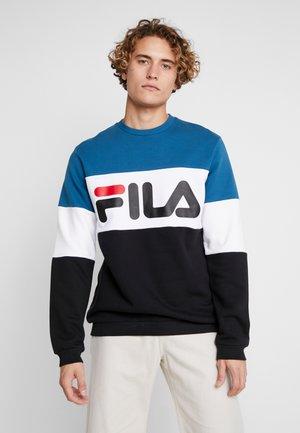STRAIGHT BLOCKED CREW - Sweatshirt - black/maroccan blue/bright white