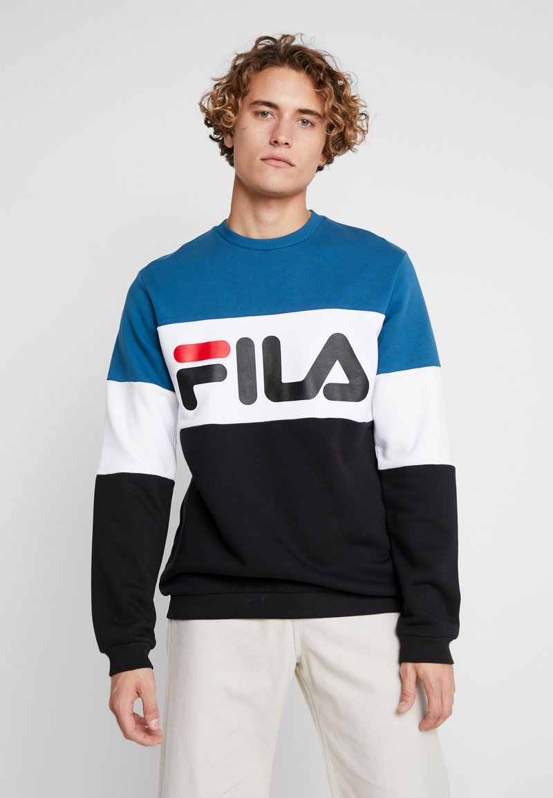 Fila - STRAIGHT BLOCKED CREW - Sweatshirt - black/maroccan blue/bright white