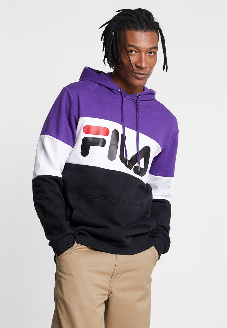 Fila - NIGHT BLOCKED HOODIE - Hoodie - black/tillandisa purple/bright white
