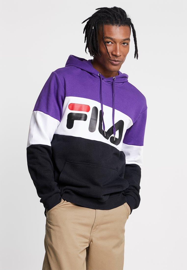 Fila - NIGHT BLOCKED HOODIE - Hoodie - black/tillandisa purple/bright white