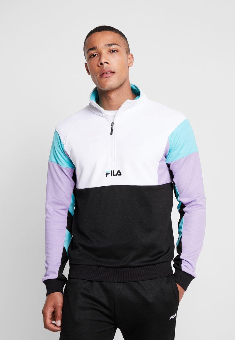 Fila - KEITH HALF ZIP - Sweatshirt - black/violet tulip/bright white/blue curacao