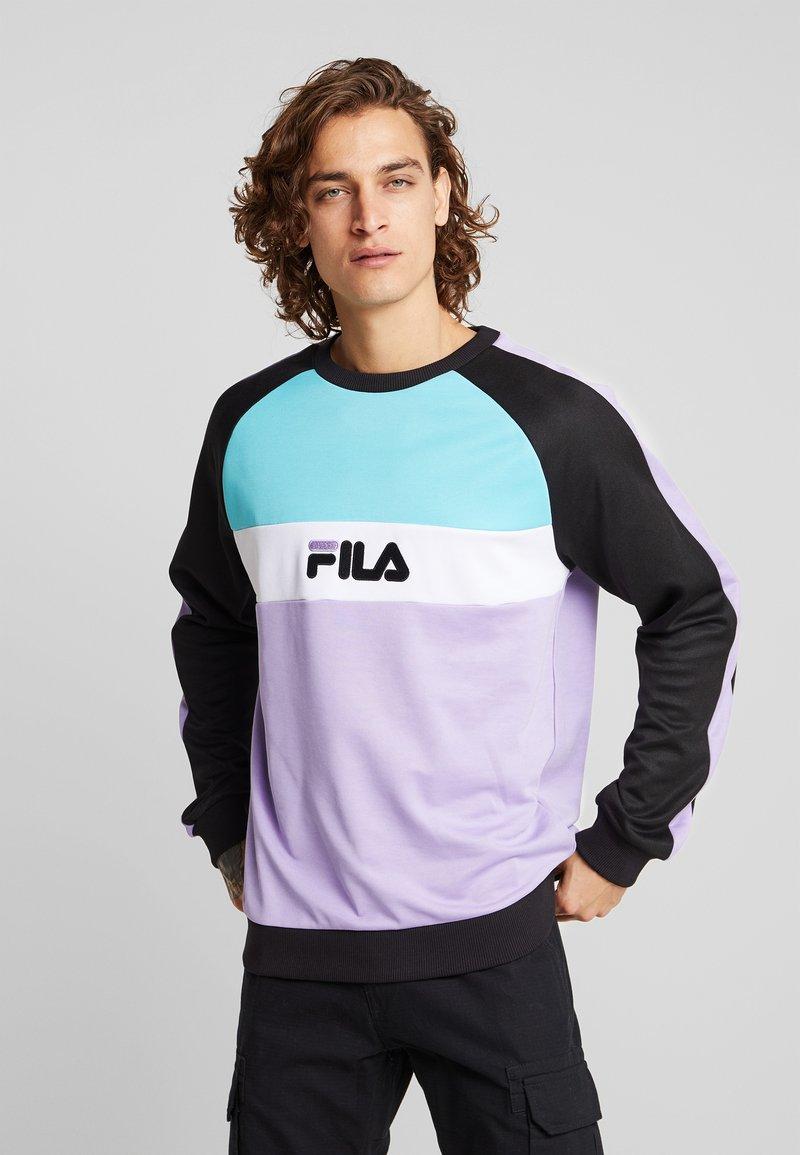 Fila - KAIL CREW - Sweatshirt - black/violet tulip/bright white/blue curacao