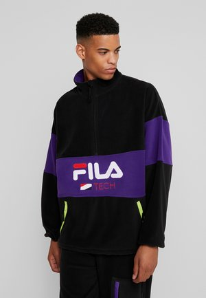 REIJO HALF ZIP - Fleecetröja - black/tillandsia purple