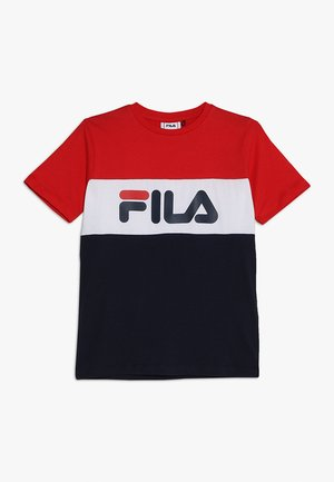DAY BLOCKED TEE - T-shirt imprimé - black iris/true red/bright white
