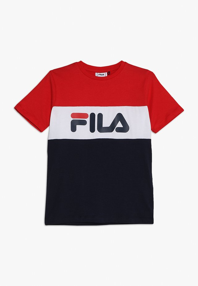 DAY BLOCKED TEE - Print T-shirt - black iris/true red/bright white