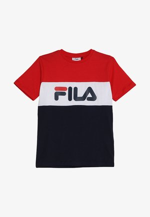 DAY BLOCKED TEE - T-shirt z nadrukiem - black iris/true red/bright white