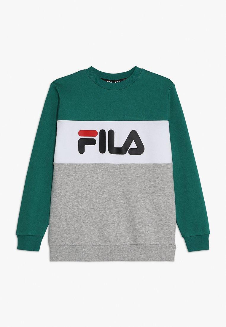 Fila - NIGHT BLOCKED CREW  - Sudadera - light grey melange /bright white/shady glade