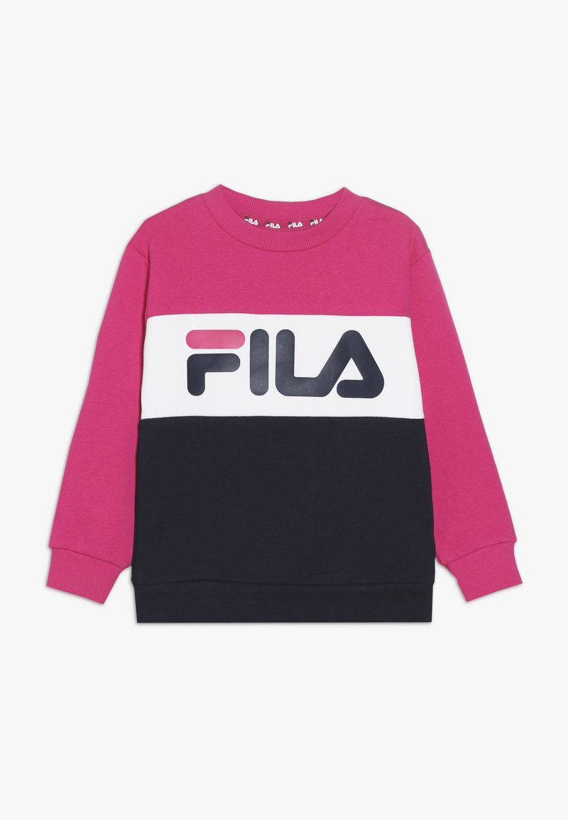 Fila - NIGHT BLOCKED CREW  - Sweatshirt - pink yarrow/black iris/bright white