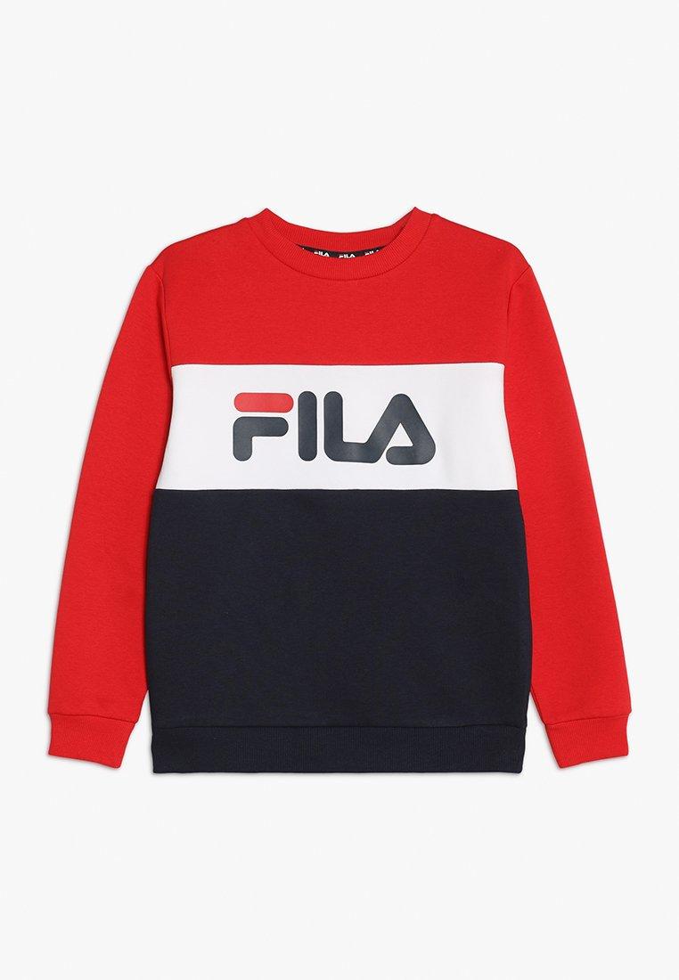 Fila - NIGHT BLOCKED CREW  - Sweatshirt - black iris/true red/bright white