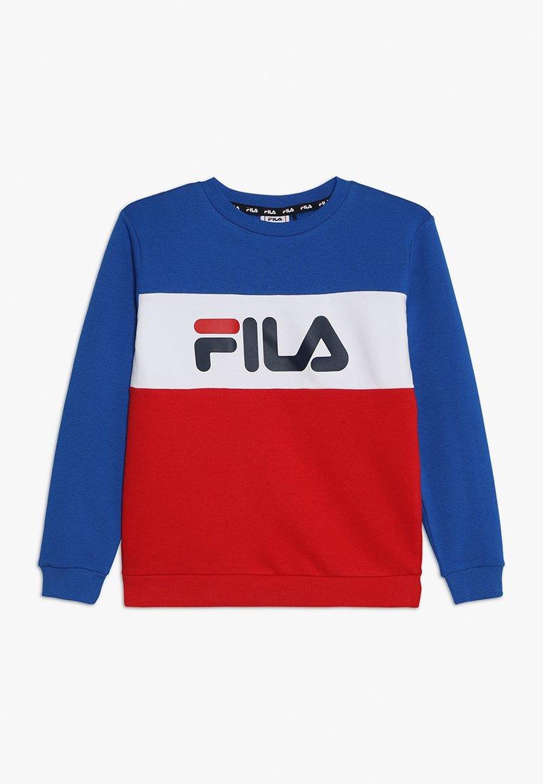 Fila - NIGHT BLOCKED CREW  - Sweatshirt - lapis blue/bright white/true red