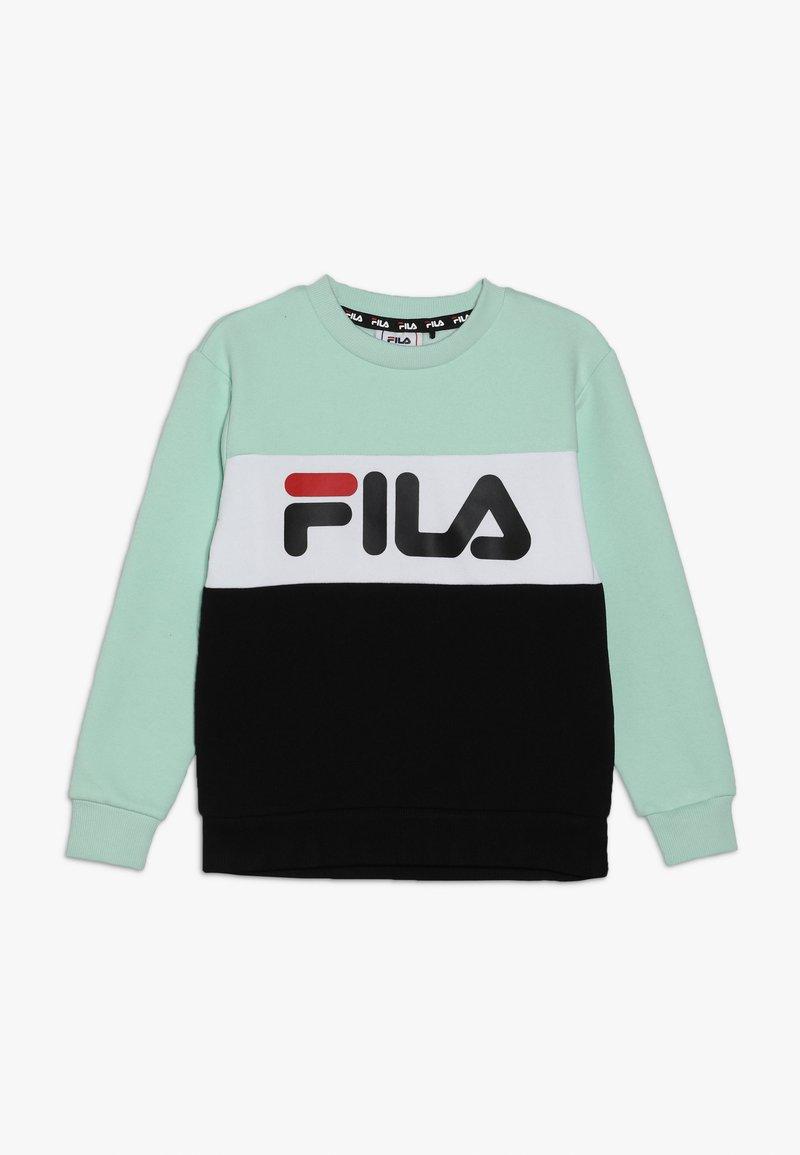 Fila - NIGHT BLOCKED CREW  - Sweatshirt - mist green/black/bright white