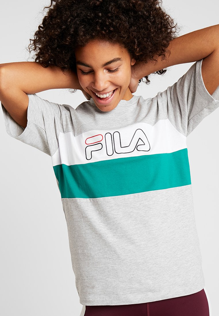 Fila - LEI TEE - T-shirt imprimé - light grey melange bros/bright white/shady glade