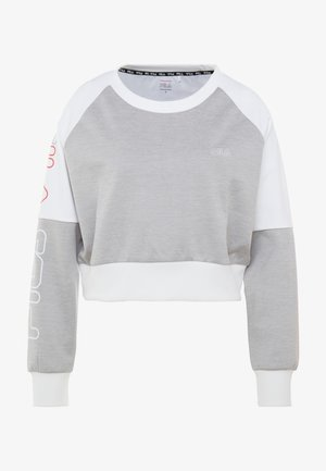 CROPPED CREW - Koszulka sportowa - light grey melange bros/bright white