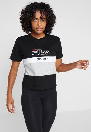 TEE - T-shirt print - black/light grey melange/bright white