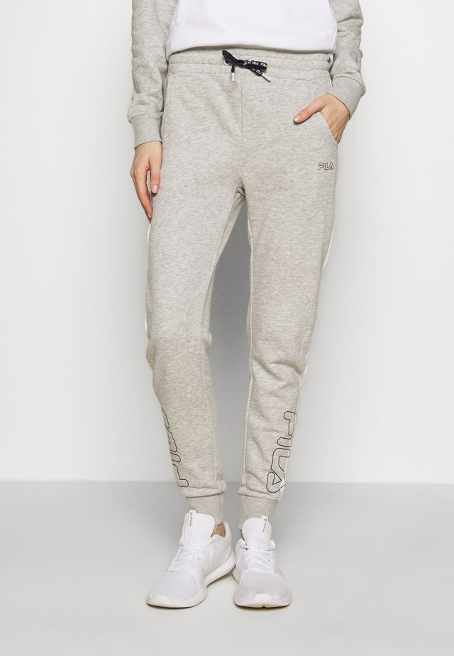LAILA - Pantalones deportivos - light grey melange/bright white
