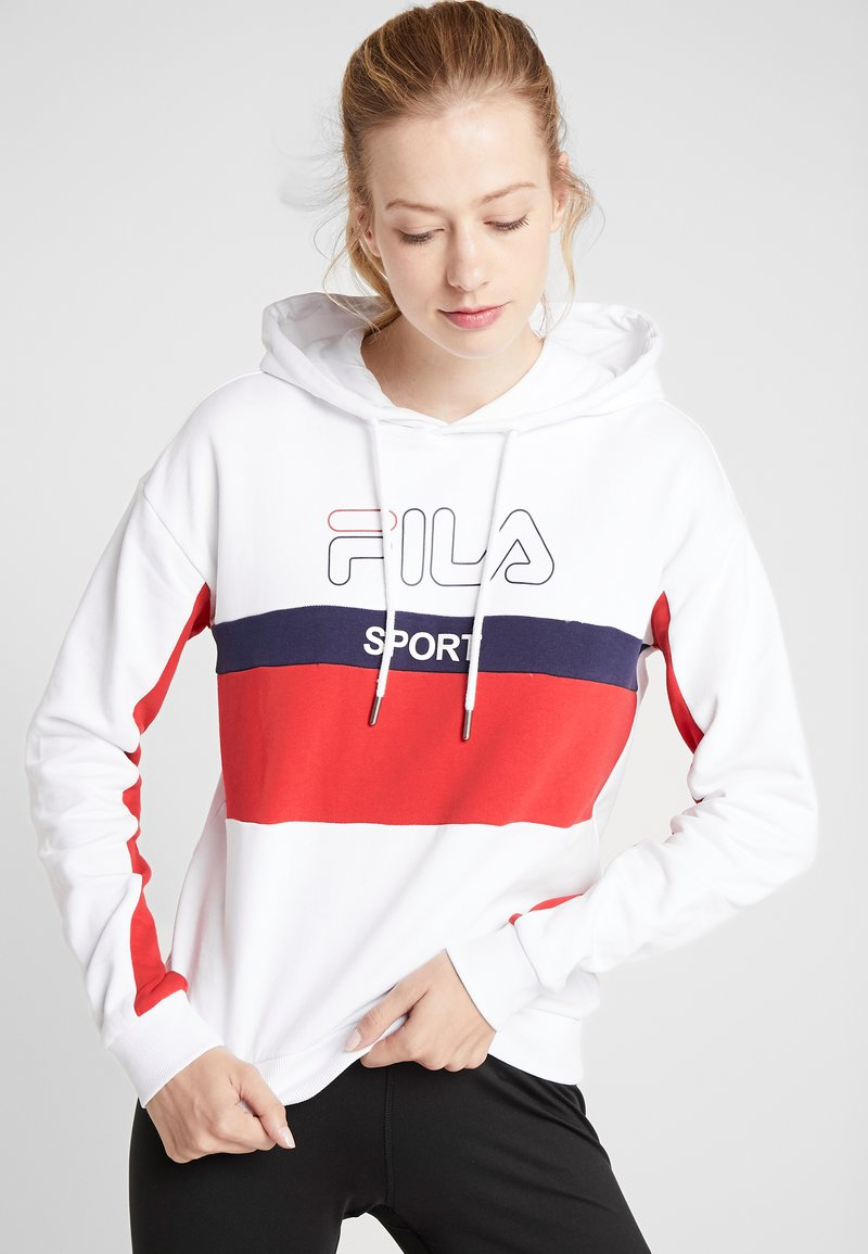 Fila - HOODY - Hoodie - bright white/true red/black iris