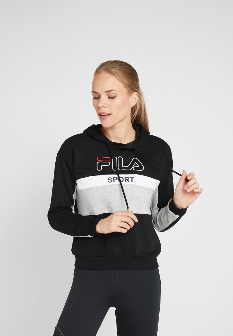 Fila - HOODY - Huppari - black/light grey melange/bright white
