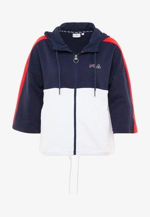 OVERSIZED ZIP HOODY - Zip-up hoodie - black iris/bright white/true red