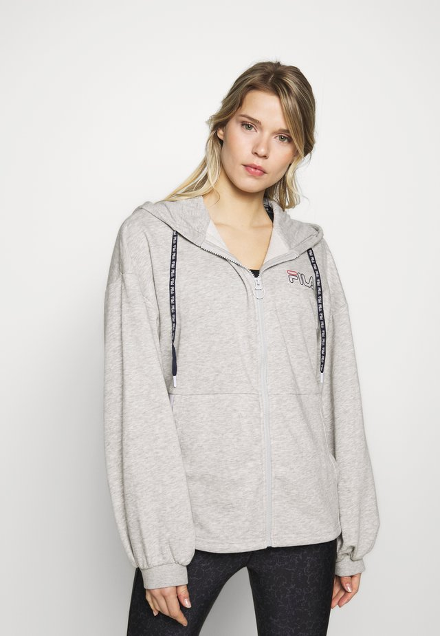 LARA - Zip-up hoodie - light grey melange/bright white