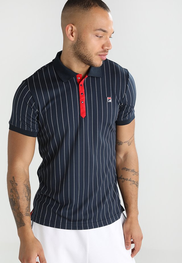 STRIPES - Sports shirt - peacoat blue/white
