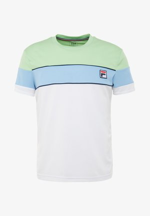 LASSE - T-shirt med print - white/pistachio green/placid blue/peacoat blue