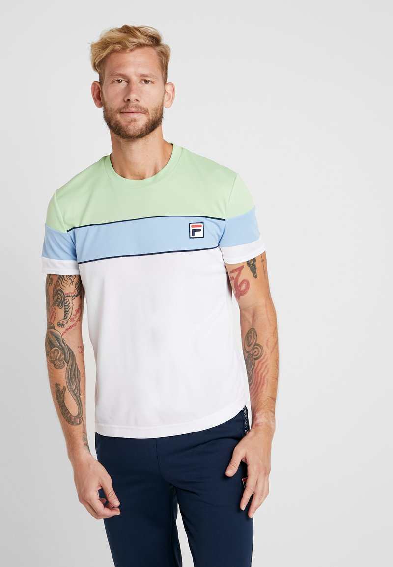 Fila - LASSE - T-shirts print - white/pistachio green/placid blue/peacoat blue