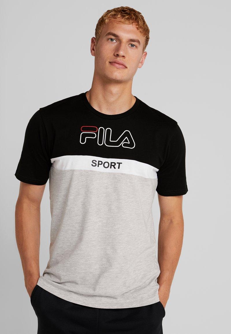 Fila - MANNING - T-shirt print - black/light grey melange bros/bright white