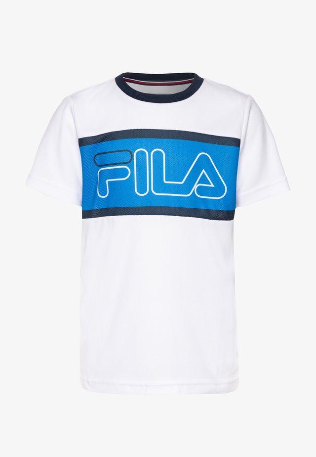 CONNOR BOYS - Print T-shirt - white/simply blue