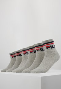Fila - UNISEX PLAIN QUARTER 6Pack - Ponožky - grey - 0