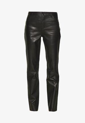 PANTS - Spodnie skórzane - black