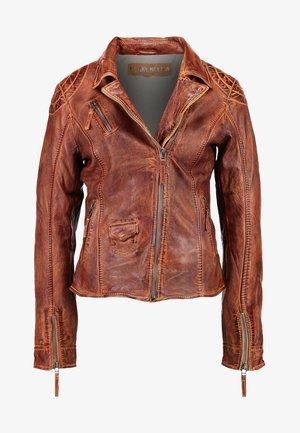 BLIND TRUST - Leather jacket - cognac