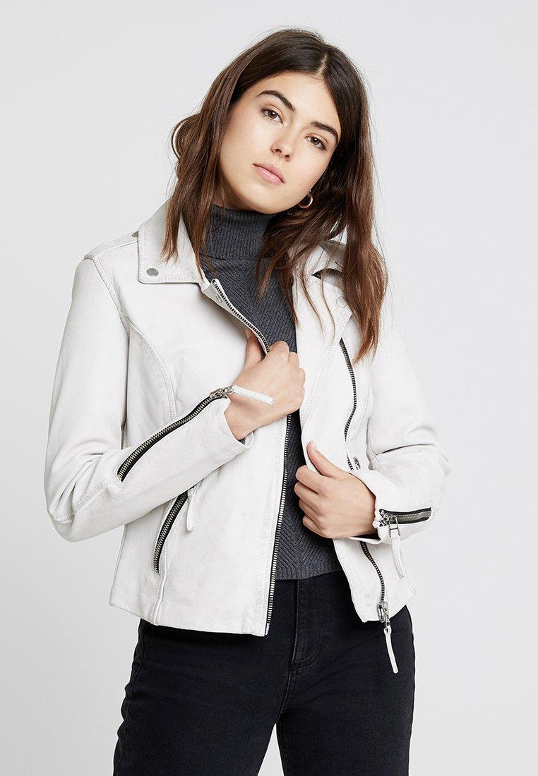 Freaky Nation - SKULL BIKER - Leather jacket - white