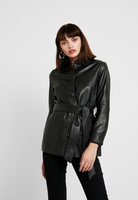 Freaky Nation - LONGLINE JACKET - Leather jacket - black - 0