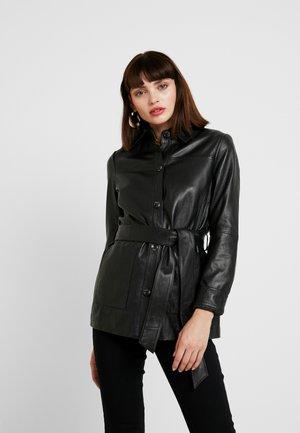 LONGLINE JACKET - Leren jas - black