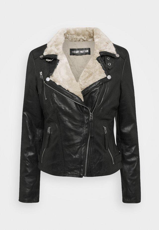 WINTER BIKER PRINCESS - Leather jacket - black/beige