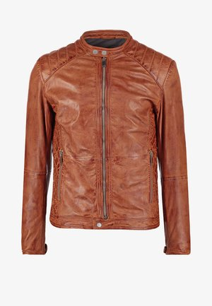 DYLAN - Leather jacket - burned orange