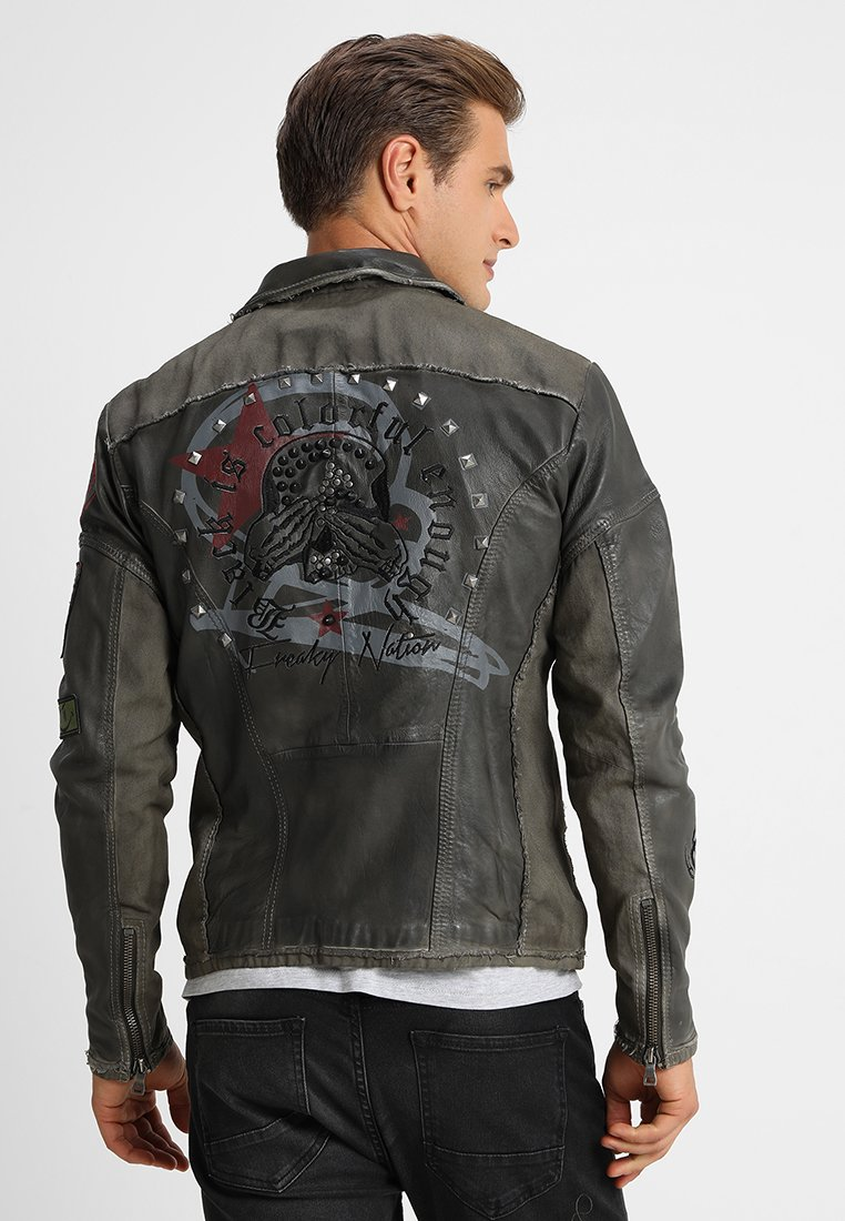 Freaky Nation - ROCKATANSKY - Leather jacket - oliv