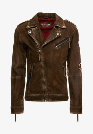 ELECTRIC MAN - Leather jacket - olive