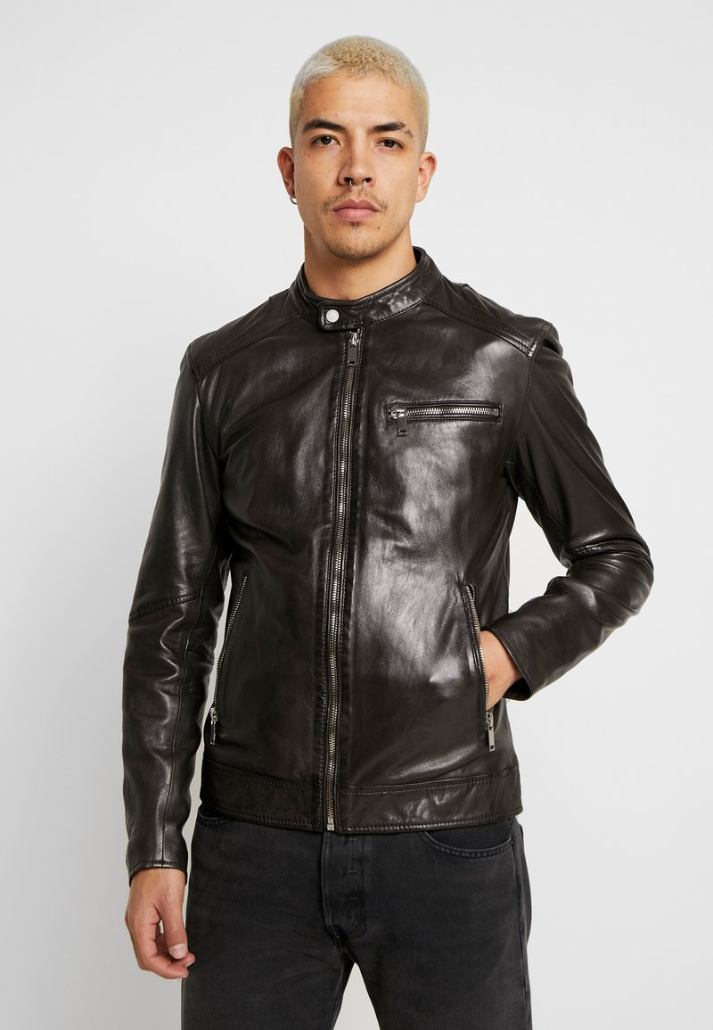 Freaky Nation - LUCKY JIM - Leather jacket - darkbrown