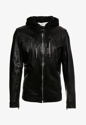 NICK - Leather jacket - black