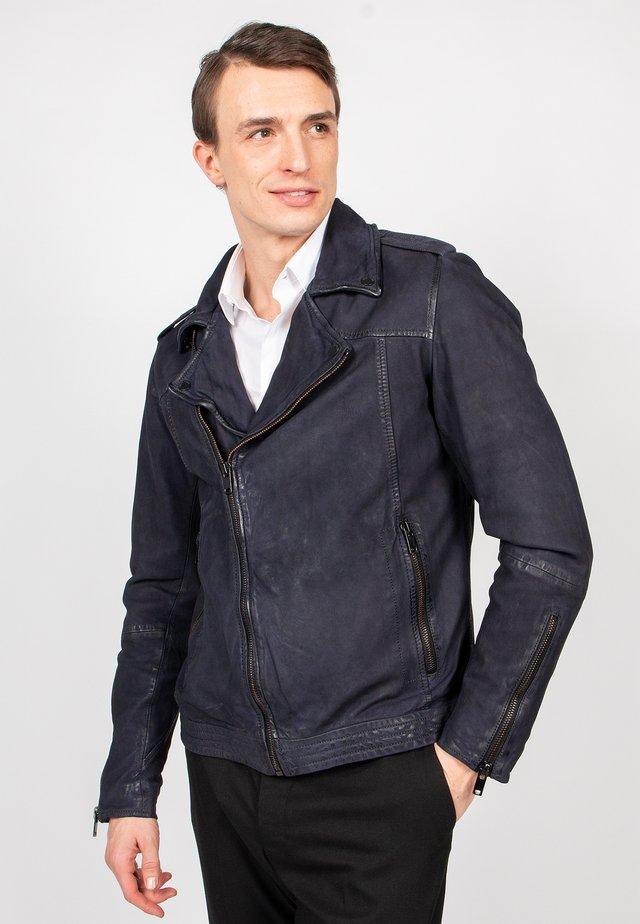 ROUGH MAN - Leather jacket - blue