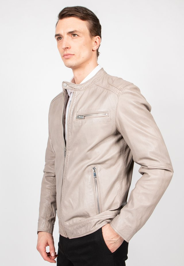 LUCKY JIM-FN - Leather jacket - sand
