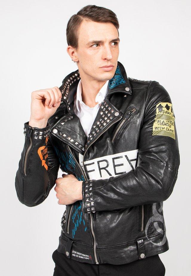 MR.ACE - Leather jacket - black/flame/chalk